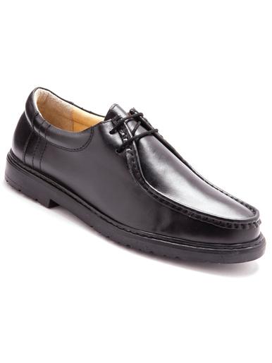 Derbies à lacets en cuir grande largeur - Pédiconfort - Noir