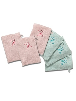 Lot de 6 gants de toilette pur coton