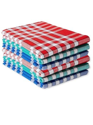 Lot de 6 serviettes de table carreaux - Carré d'azur - Carreaux normands
