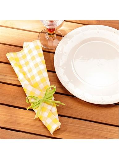 Lot de 2 rouleaux de serviettes de table -  - Vichy jaune, vichy rouge