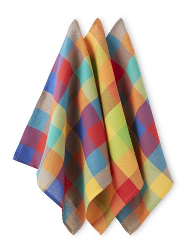 Lot de 6 serviettes de table madras - Carré d'azur - Madras