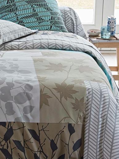 Drap-housse feuilles - Becquet - Beige gris turquoise