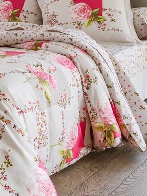 Drap plat fleuri rose
