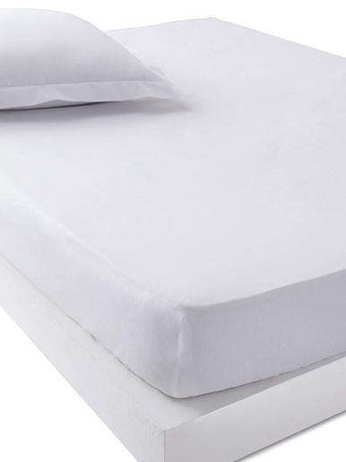Drap-housse en polycoton bonnets 32cm - Carré d'azur - Blanc