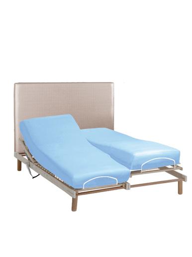 Drap-housse sommiers articulés pur coton - Carré d'azur - Bleu ciel