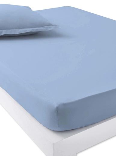 Drap-housse en pur coton bonnets 25cm - Carré d'azur - Bleu ciel