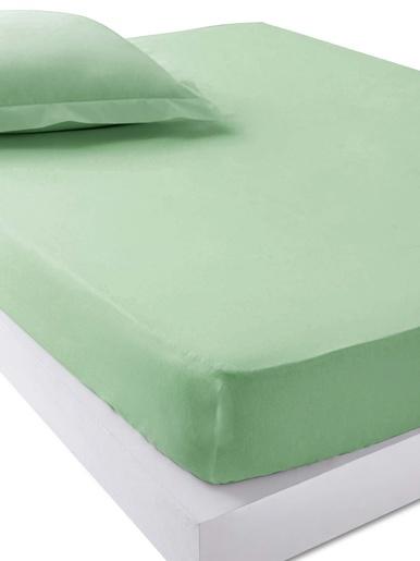 Drap-housse en pur coton bonnets 25cm - Carré d'azur - Vert jade