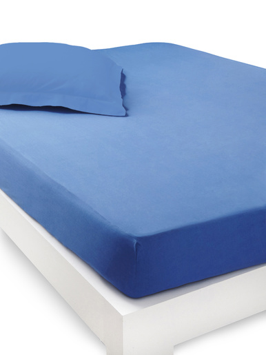 Drap-housse pur coton bonnets 32 cm - Carré d'azur - Bleu indigo
