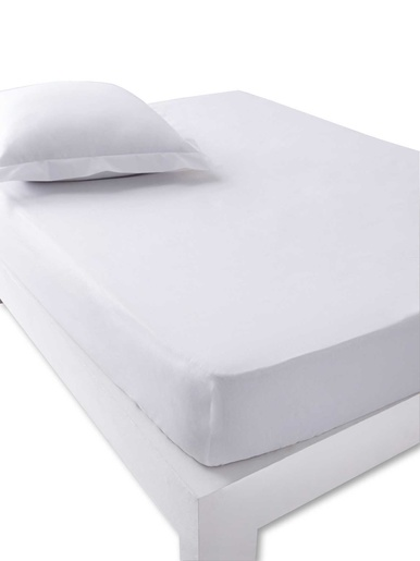 Drap-housse coton traité antibactérien - Carré d'azur - Blanc