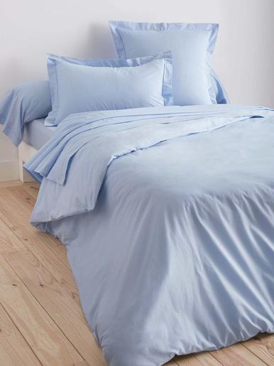 Housse de couette en tissu pur coton - Carré d'azur - Bleu ciel