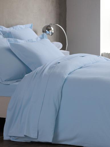 Housse de couette flanelle pur coton - Carré d'azur - Bleu