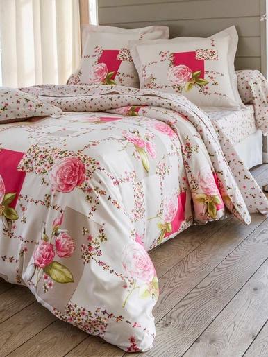 Housse de couette fleuri rose - Becquet - Imprimé petites fleurs