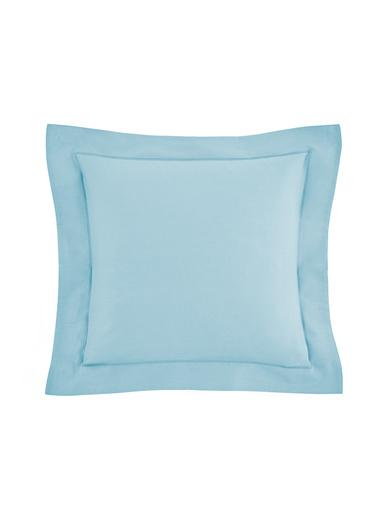 Taie d'oreiller ou traversin pur coton - Carré d'azur - Bleu ciel