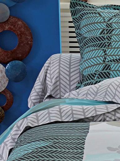 Taie de traversin feuilles - Becquet - Beige gris turquoise