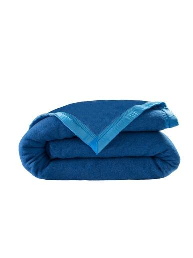 Couverture pure laine vierge 350g/m2 - Carré d'azur - Bleuet