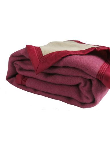 Couverture pure laine vierge 350g/m2 - Carré d'azur - Fraise