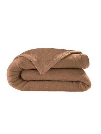 Couverture pure laine vierge 600g/m2 - Carré d'azur - Noisette