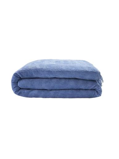 Couvre-lit tuft pur coton 215g/m2 - Carré d'azur - Bleuet