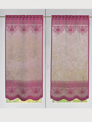 Paire de vitrages dentelle et jacquard - Carré d'azur - Framboise