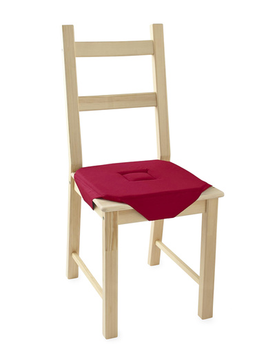 Galettes de chaise unies lot de 2 - Carré d'azur - Framboise