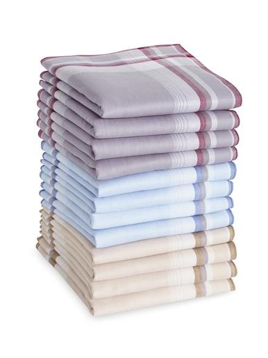 Lot de 12 mouchoirs WINKLER pour homme - Winkler - Bordeaux beige bleu