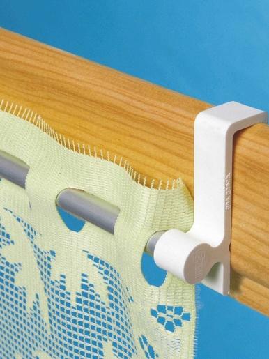 Tringle à rideaux sans clou ni vis -  - Blanc aluminium