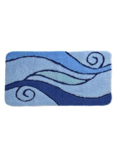 Tapis de bain contour WC ou lavabo - Carré d'azur - Bleu/turquoise