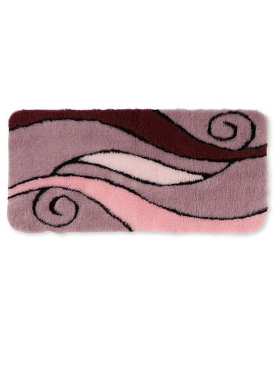 Tapis de bain contour WC ou lavabo - Carré d'azur - Rose/prune