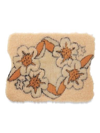 Tapis de bain fleuri envers antidérapant - Carré d'azur - Pêche