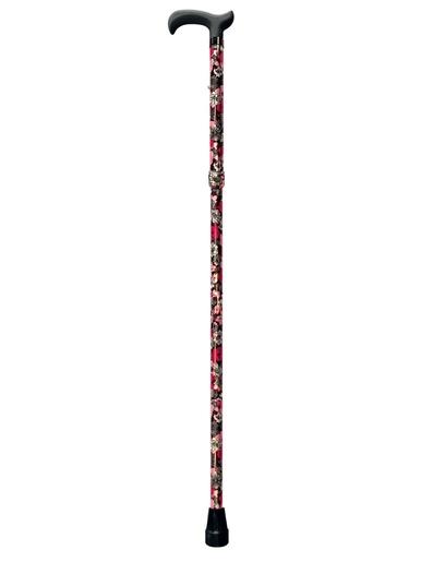 Canne de marche pliante fleurie -  - Noir rouge