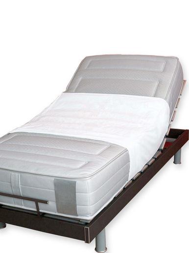 Alèse de lit lavable avec rabats -  - Blanc