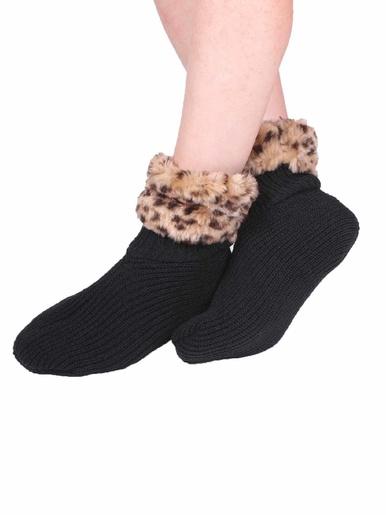 Chaussettes d'intérieur -  - Noir et léopard