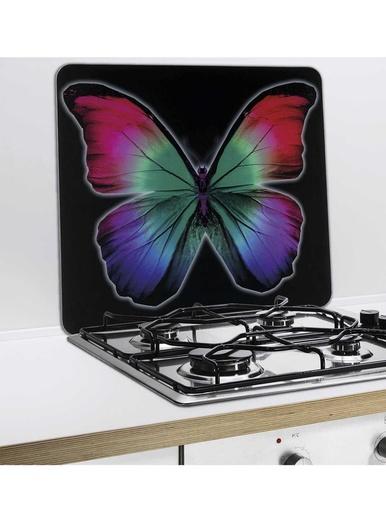 Protège-mur papillon - Wenko - Noir imprimé papillon
