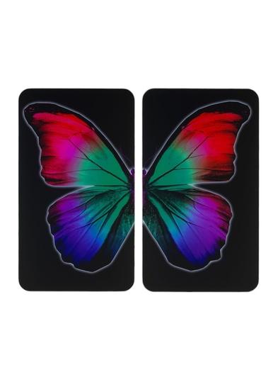 Lot de 2 couvre-plaques universels - Wenko - Noir imprimé papillon