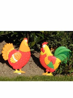 2 décorations à planter, Poule et Coq