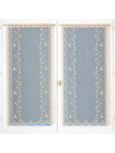 Paire de vitrages motif fantaisie - Carré d'azur - Sable