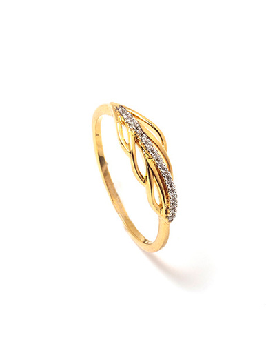 Bague avec zirconias plaqué or - Balsamik - Plaqué or