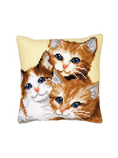 Kit canevas pour coussin -  - Multicolore trois chatons