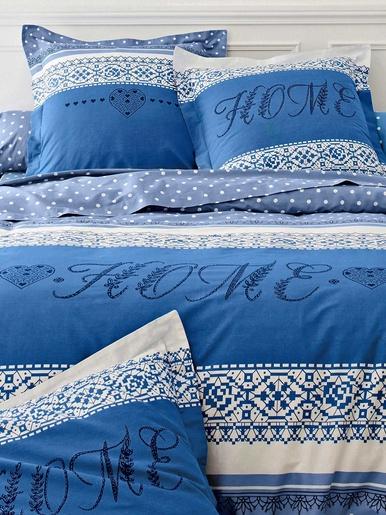Taie d'oreiller ou de traversin Adeline - Colombine - Bleu