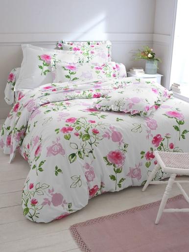 Taie d'oreiller à volant froncé Rosine - Colombine - Imprimé roses