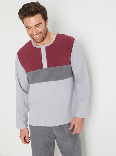 Pyjama maille micropolaire - Honcelac - Gris/bordeaux