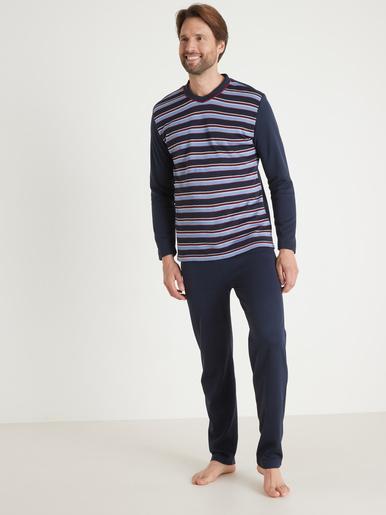 Pyjama manches longues chaud - Honcelac - Rayé marine