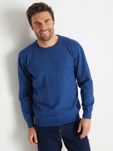 Pull encolure ronde, laine d'agneau - Honcelac - Bleu