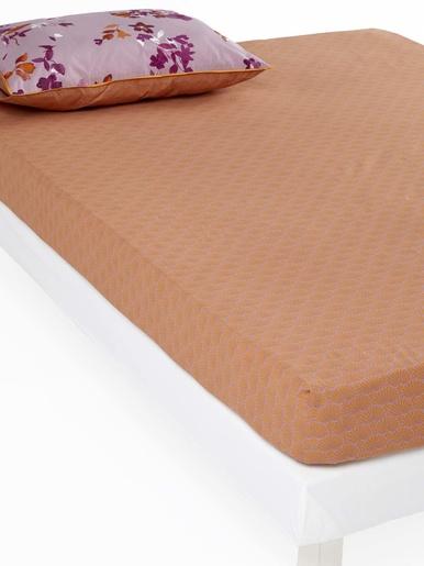 Drap-housse SOLSTICE pur coton - Carré d'azur - Imprimé rose/miel