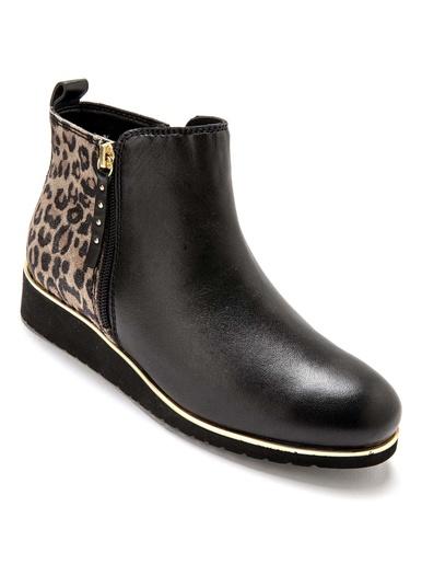 Boots double glissière à aérosemelle® - Pédiconfort - Noir/ façon léopard