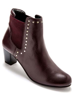 Boots cuir à large élastique côté et dos