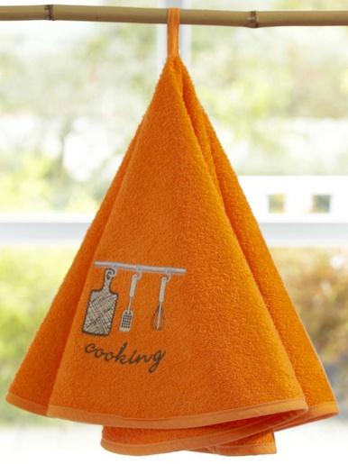 Essuie-mains brodé Cooking - Becquet - Orange