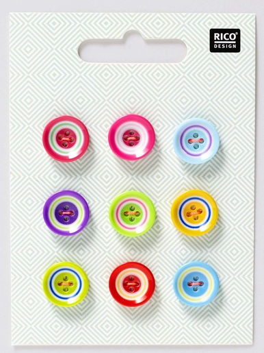 Lot de 9 boutons multicolores -  - Multicolore