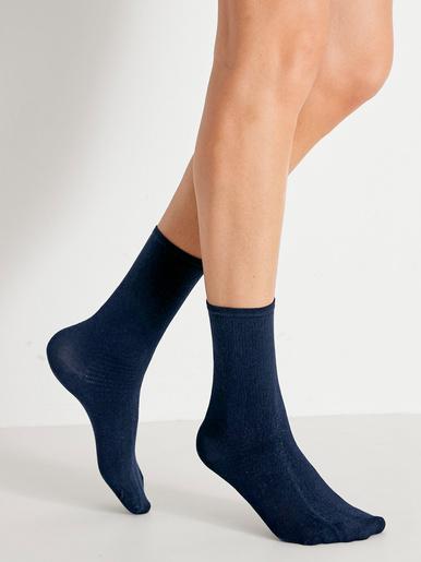 Lot 2 paires mi-chaussettes diabète - Lingerelle - Bleu