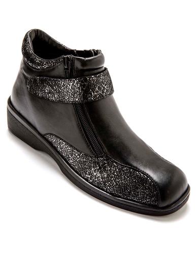 Boots cuir extra larges - Pédiconfort - Noir